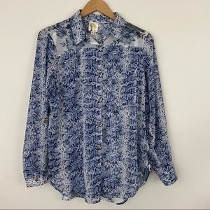 Fig and Flower Multiprint Roll Tab Sleeve Top M